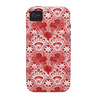 Elegant Vintage Distressed Red White Lace Damask iPhone 4/4S Covers