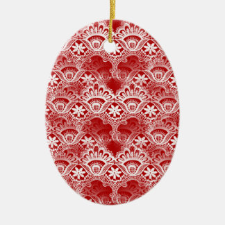 Elegant Vintage Distressed Red White Lace Damask Ceramic Oval Decoration