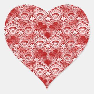 Elegant Vintage Distressed Red White Lace Damask Heart Sticker