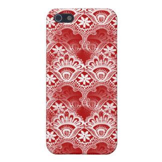 Elegant Vintage Distressed Red White Lace Damask iPhone 5 Case