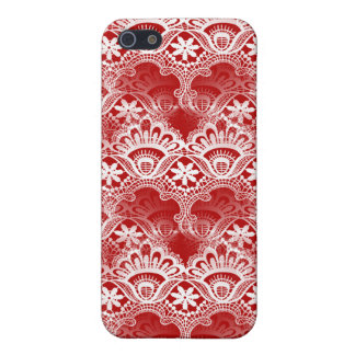 Elegant Vintage Distressed Red White Lace Damask iPhone 5 Cases