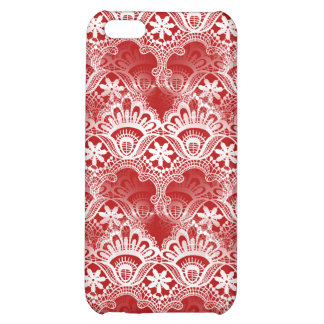 Elegant Vintage Distressed Red White Lace Damask Case For iPhone 5C