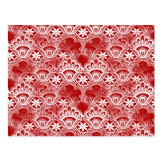 Elegant Vintage Distressed Red White Lace Damask Post Card