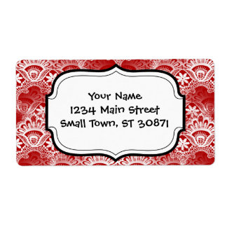 Elegant Vintage Distressed Red White Lace Damask Shipping Label