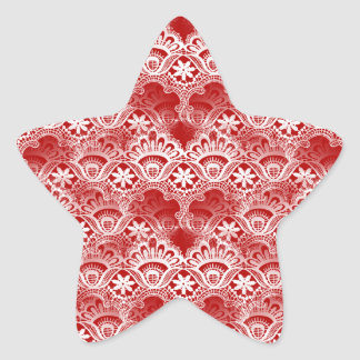 Elegant Vintage Distressed Red White Lace Damask Star Sticker