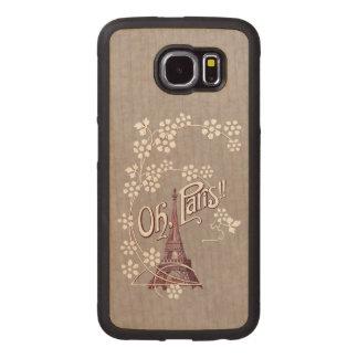 Elegant vintage Eiffel Tower Daisies Paris Wood Phone Case