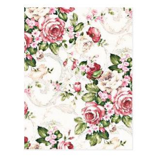 Elegant Vintage Floral Cottage Cream Rose Postcard