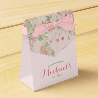 Elegant Vintage Floral Romantic Pink Wedding Party Favour Box