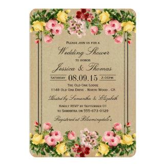 Elegant Vintage Floral Wedding Shower Invitations