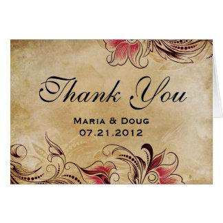 Elegant Vintage Floral Wedding Thank You Card
