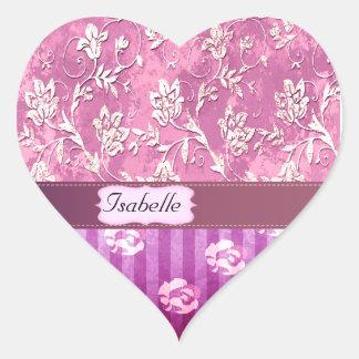 Elegant  vintage gentle floral monogram heart sticker