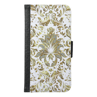Elegant Vintage Gold And Glitter Floral Lace Samsung Galaxy S6 Wallet Case