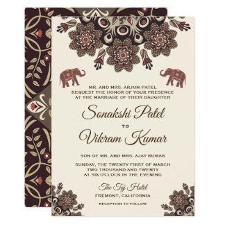 Elegant Vintage Henna Indian Wedding Invitation
