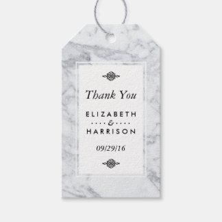 Elegant Vintage Marble Wedding Thank You Gift Tags