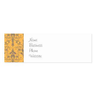 Elegant Vintage Orange Gray Damask Floral Pattern Pack Of Skinny Business Cards