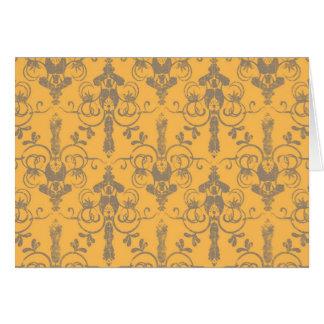Elegant Vintage Orange Gray Damask Floral Pattern Note Card