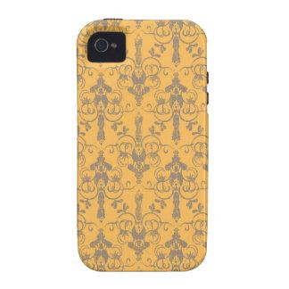 Elegant Vintage Orange Gray Damask Floral Pattern iPhone 4/4S Cover