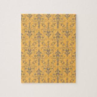 Elegant Vintage Orange Gray Damask Floral Pattern Puzzles