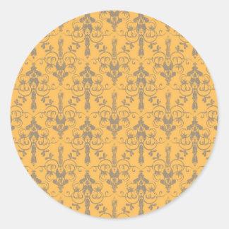 Elegant Vintage Orange Gray Damask Floral Pattern Round Sticker