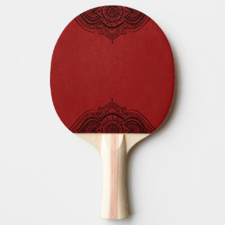 Elegant Vintage Red Faux Leather & Black Lace Ping Pong Paddle