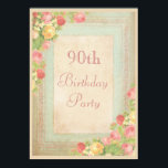 Elegant Vintage Roses 90th Birthday Party Invitationbrdiv Classdesc