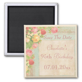 Elegant Vintage Roses 95th Birthday Save The Date Square Magnet