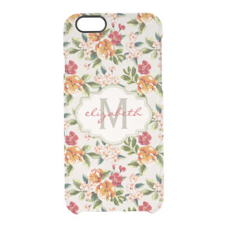 Elegant Vintage Watercolor Flowers Monogrammed Clear iPhone 6/6S Case