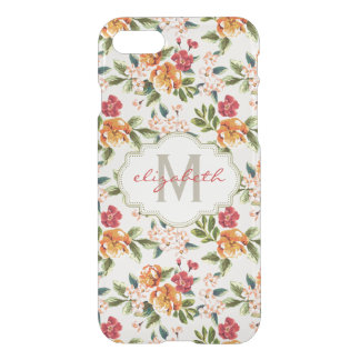 Elegant Vintage Watercolor Flowers Monogrammed iPhone 7 Case