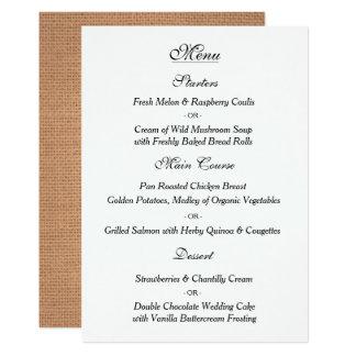 Elegant Vintage Wedding Menu Card