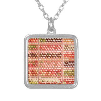 ELEGANT Warm Color EggSheels, Shells, Dots, Circle Silver Plated Necklace