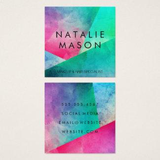 Elegant Watercolor Colour Blocks Square Business Card