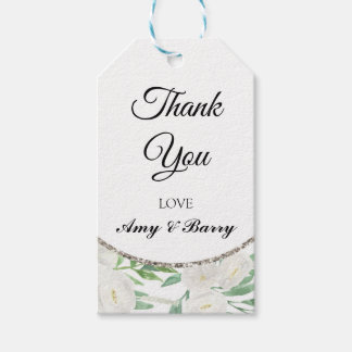 Elegant Watercolor Floral Chic Thank You Gift Tags