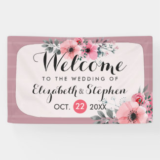 Elegant Watercolor Floral Script Wedding Welcome Banner