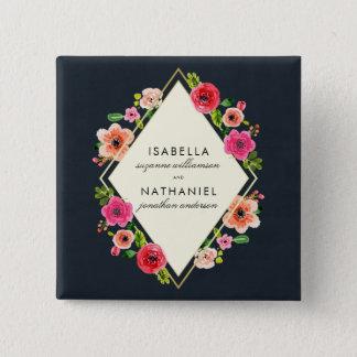 Elegant Watercolor Flowers   Gold Frame Wedding 15 Cm Square Badge
