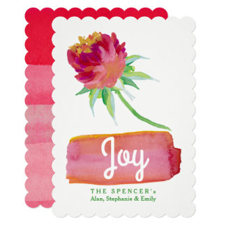 Elegant Watercolor Red Floral Joy Holiday Card