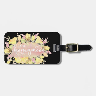 Elegant Watercolor Roses Honeymoon Luggage Tags