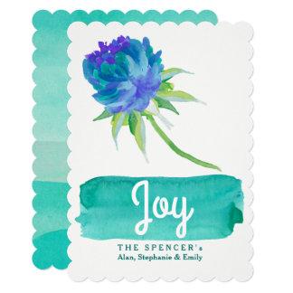 Elegant Watercolor Teal Floral Joy Holiday Card