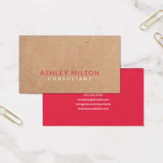 Elegant Watermelon Red PRINTED Kraft Consultant Business Card