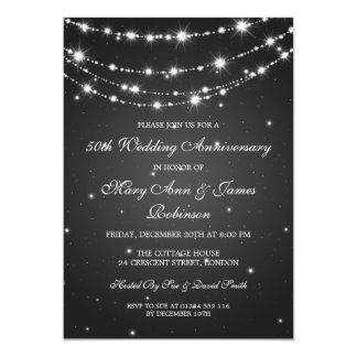 Elegant Wedding Anniversary Sparkling Chain Black Card