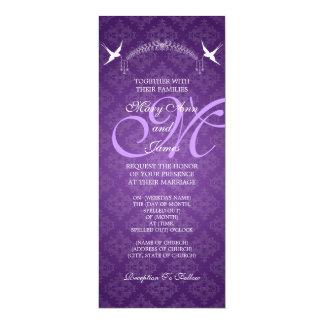 Elegant Wedding Birds Monogram Purple 10 Cm X 24 Cm Invitation Card
