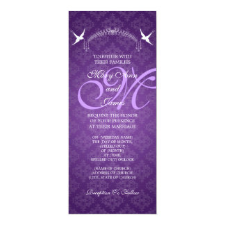 Elegant Wedding Birds Monogram Purple Card