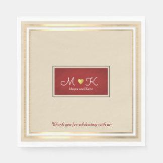 elegant wedding celebration reception beige & red disposable serviettes