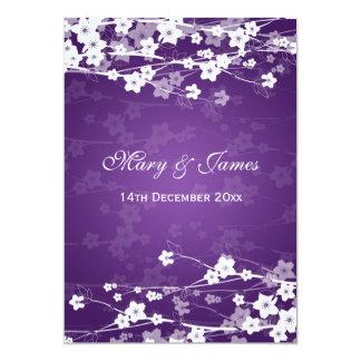 Elegant Wedding Cherry Blossom Purple 13 Cm X 18 Cm Invitation Card