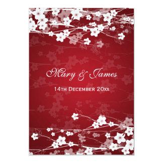 Elegant Wedding Cherry Blossom Red 13 Cm X 18 Cm Invitation Card