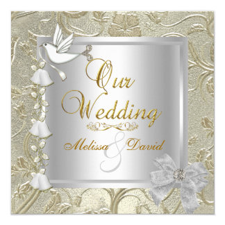 Elegant Wedding Gold Silver White Dove Damask Card