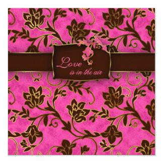 Elegant Wedding Invitation Gold Floral Pink Brown