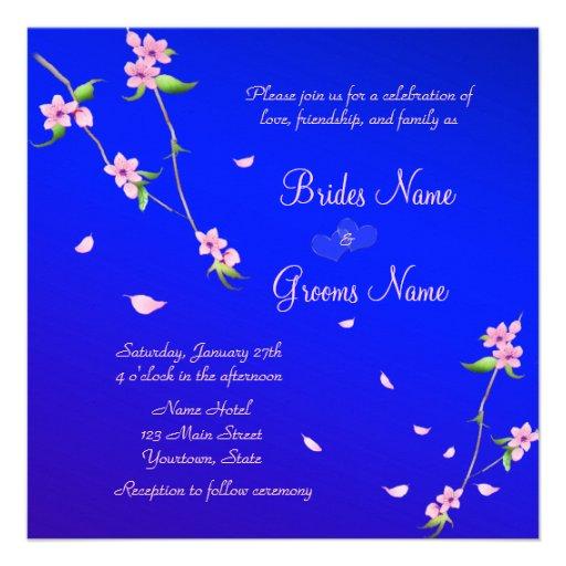 Elegant Wedding Invitation with Night Sakura