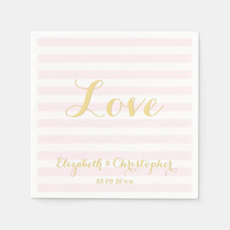 Elegant Wedding Love Faux Gold Pink Paper Napkins