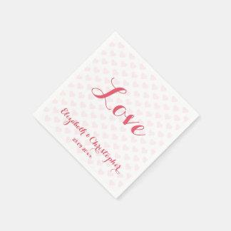 Elegant Wedding Love Pink Heart Party Paper Napkin