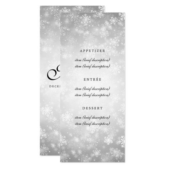 Elegant Wedding Menu Silver Winter Wonderland Card